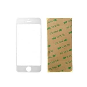 White Front Glass Lens And Adhesive Sticker